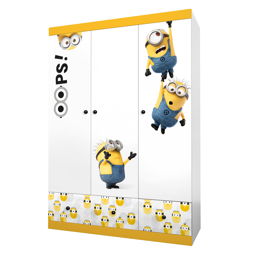 Купить Шкаф трехсекционный Polini kids Fun 1360 Миньоны , Россия