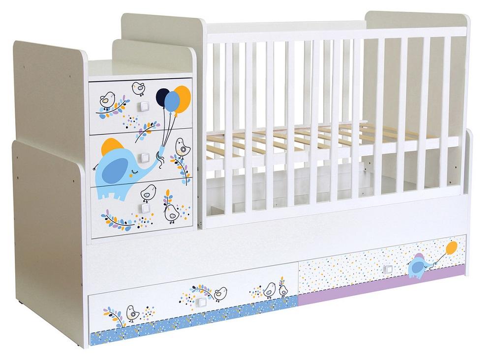Кровать детская Polini kids Simple 1100 Слоник на шаре, белая, Россия  - купить со скидкой