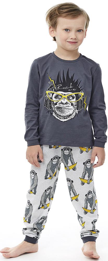 Купить Комплект пижамный UMKA Крутая обезьянка 104-017-02: футболка и брюки, для мальчика, серый, Витоша, Россия, Серый, 98