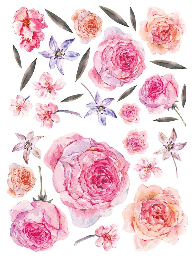 """Набор виниловых наклеек Decoretto """"Акварельные цветы и листья"""" фото"""