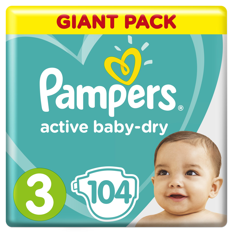 Купить Подгузники Pampers Active Baby-Dry Midi 3 (6-10кг), 104шт., США