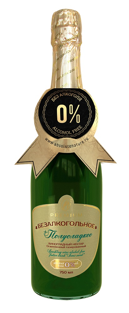 """Шампанское безалкогольное """"Полусладкое"""" взрослое, 750мл"""
