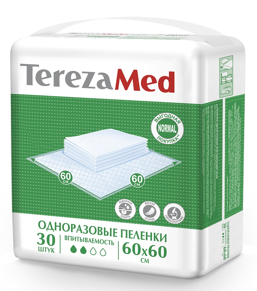 Пеленки одноразовые TerezaMed Normal 60x60см, 30шт.