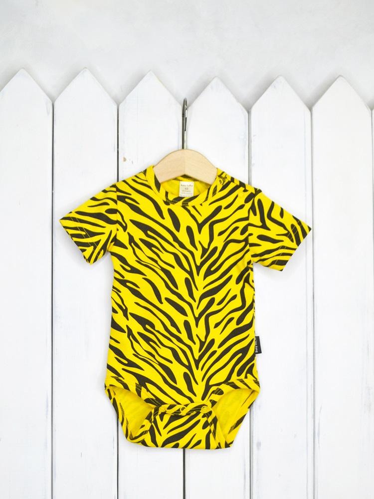 """Боди Baby Boom """"Тигр"""" с коротким рукавом, желтое фото"""