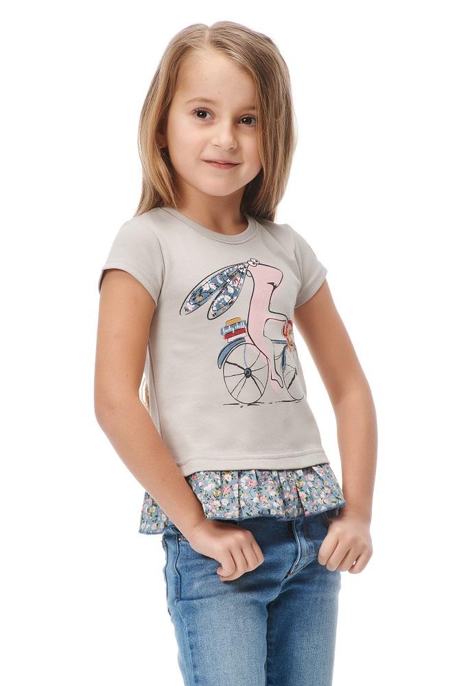 Купить Футболка Lucky Child Заяц на велосипеде для девочки, серая, Bembi, Украина, Серый, 62