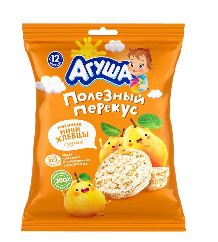Купить Мини-хлебцы рисовые Агуша Груша , 30гр, Россия