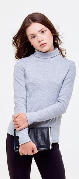 Купить Водолазка UMKA 2S6-018-191 для девочки, серый меланж, Сонный Гномик, Россия, Серый, 134