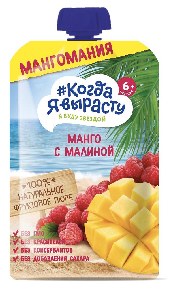 Купить Пюре Когда Я вырасту Яблоко, манго, малина, пауч, 180гр, Россия