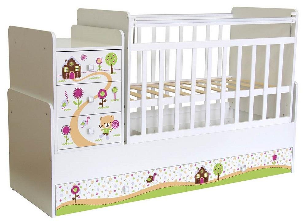 """Кровать детская """"Фея"""" 1100 Пряничный домик, белая фото"""