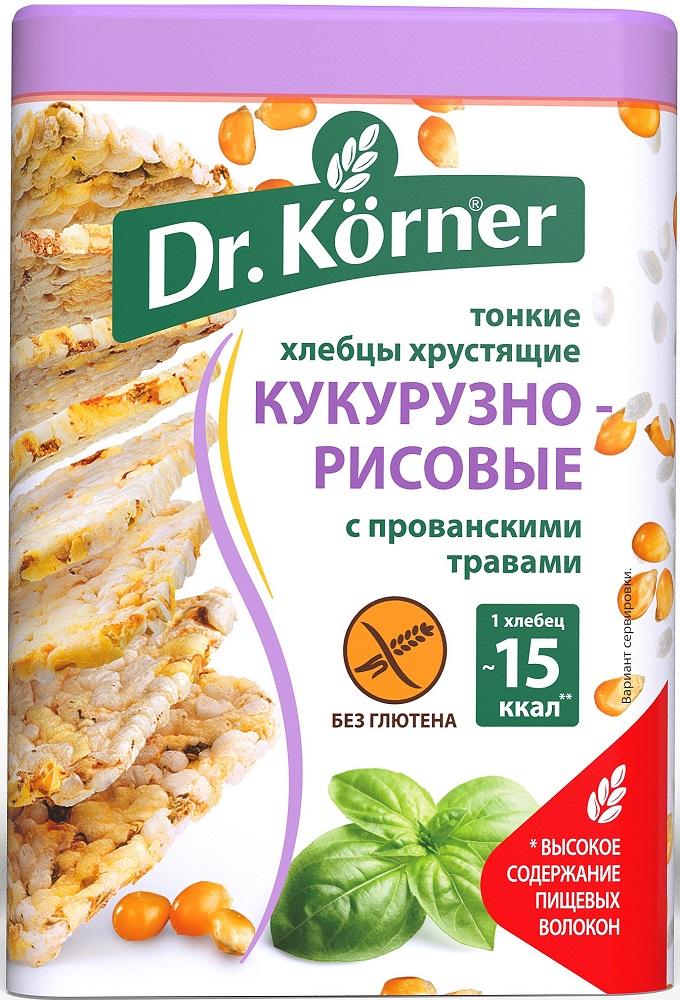 Купить Хлебцы Dr. Korner Кукурузно-рисовые с прованскими травами, тонкие хрустящие, 100гр, Россия