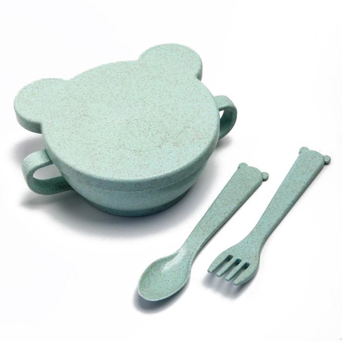 Купить Набор ЭКО посуды Little Angel Bear: миска с крышкой, ложка и вилка, зеленый, Россия