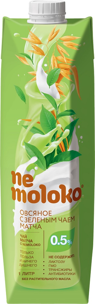 Напиток овсяный Nemoloko с зеленым чаем матча 0,5%, 1л