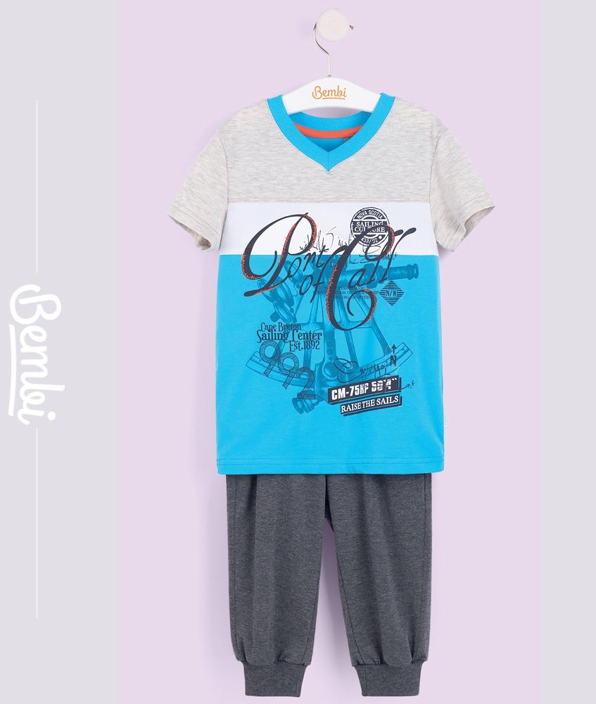 Купить Комплект для мальчика Bembi: бриджи и футболка, Наша Мама, Россия, Мульти, 128