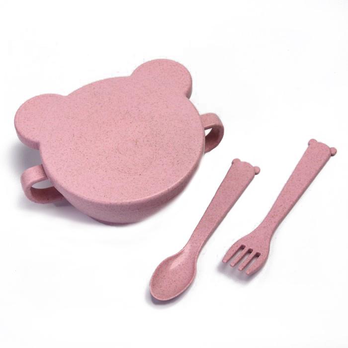 Набор ЭКО посуды Little Angel Bear: миска с крышкой, ложка и вилка, розовый, Россия  - купить со скидкой