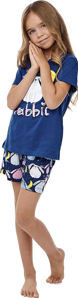 Купить Комплект пижамный UMKA Зайка 204-024-02: футболка и шорты, для девочки, синий, Витоша, Россия, Синий, 104
