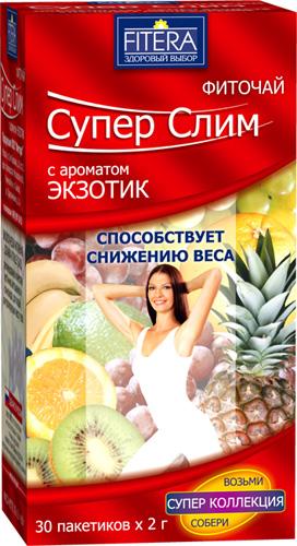 Купить Фиточай Супер Слим для похудения, с ароматом экзотик, 30 пакетиков, Россия