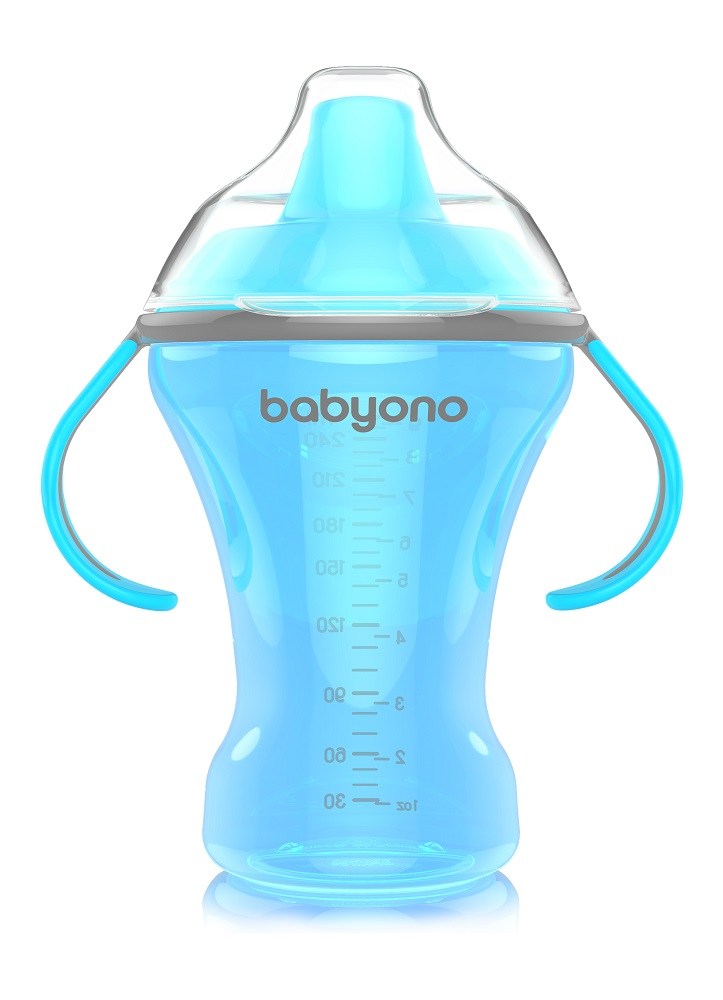 Купить Кружка-непроливайка BabyOno с твердым носиком, 260мл, Pigeon, Япония, Голубой
