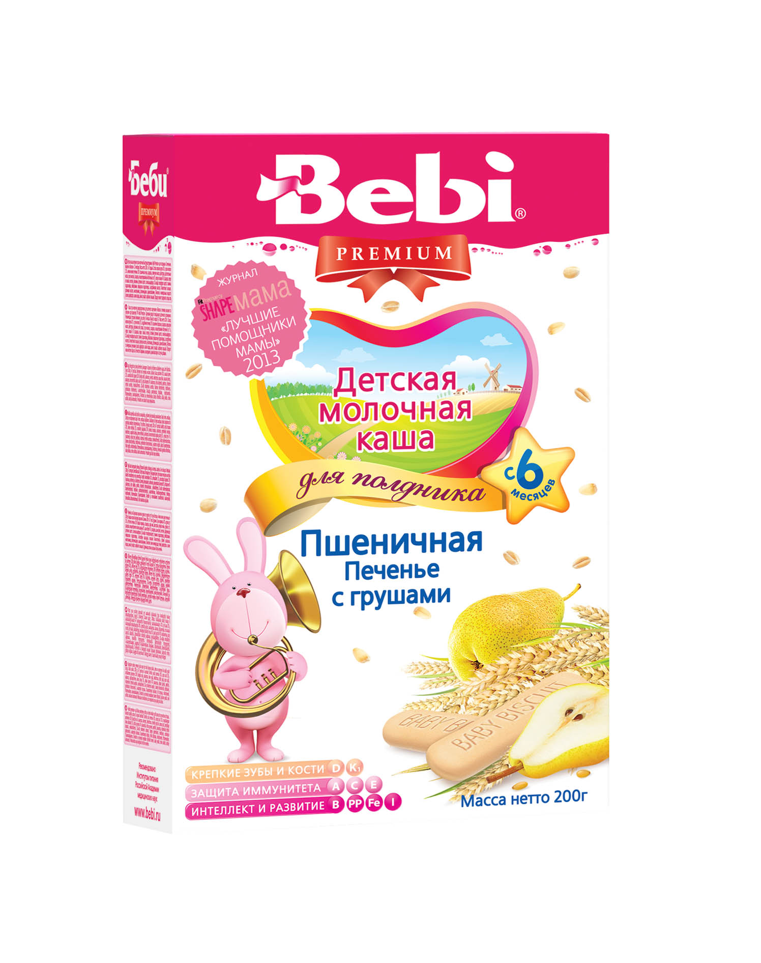 Купить Детская каша Bebi Premium молочная пшеничная с печеньем и грушей, 200гр, Словения