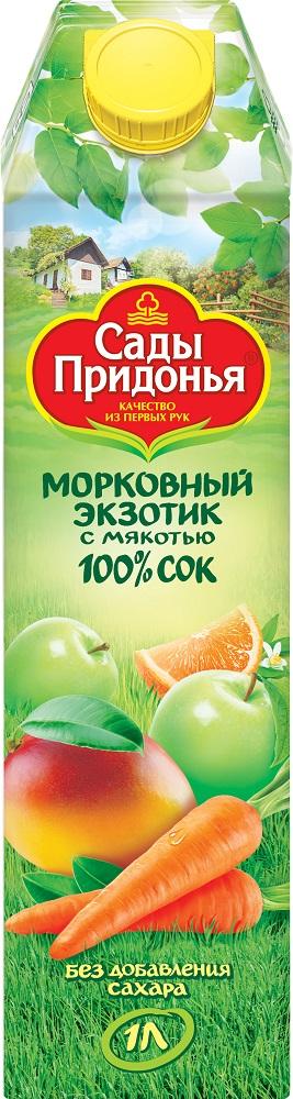 Купить Сок Сады Придонья Морковный экзотик, с мякотью, 1л, Россия