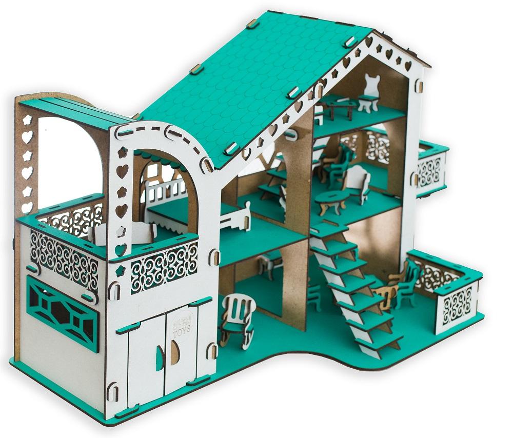 """Сборный кукольный домик Эlen Toys """"Тиффани"""" с гаражом и мебелью"""