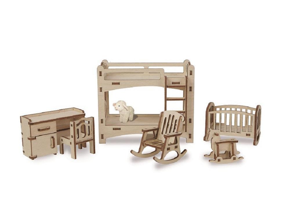 Купить Набор сборной мебели Эlen Toys Детская для кукольного домика , 6 предметов, Россия