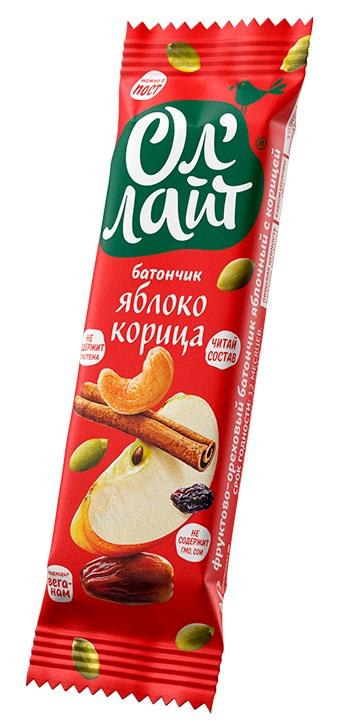 Купить Батончик фруктово-ореховый ОлЛайт Яблоко и корица , 30гр, Россия