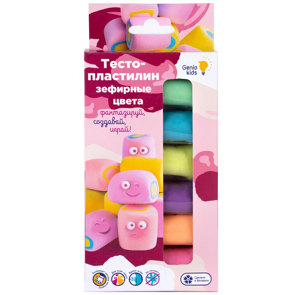 Купить Набор для детской лепки Genio Kids Тесто-пластилин. Зефирные цвета , 6 цветов, Беларусь