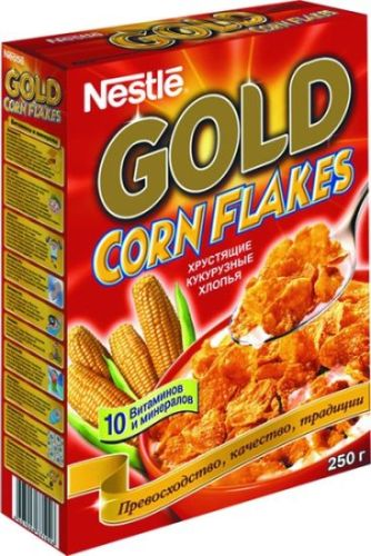 Хлопья кукурузные Nestle Gold Corn Flakes хрустящие, 330гр фото