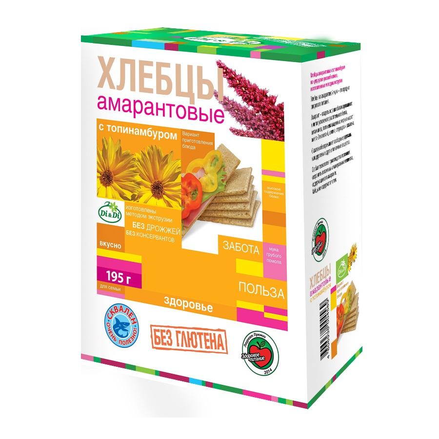 Купить Хлебцы амарантовые кукурузно-рисовые с топинамбуром, 195гр, Di&Di, Россия