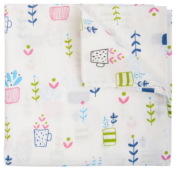 Купить Пеленка Сонный Гномик Цветы и кружки , муслиновая, Россия