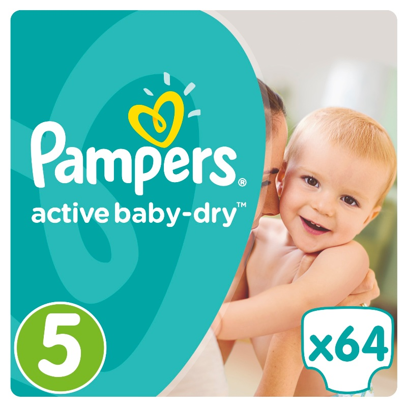 Подгузники Pampers Active Baby-Dry Junior 5 (11-18кг), 64шт.