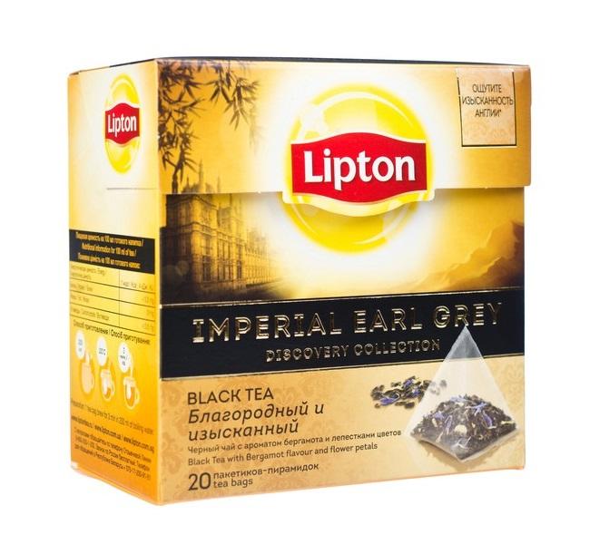 Чай черный Lipton Imperial Earl Grey, 20 пирамидок фото