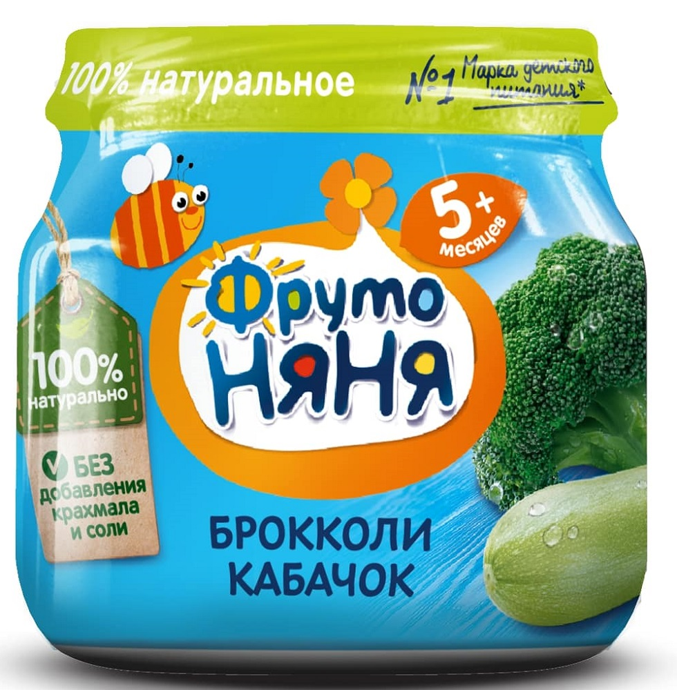 Купить Пюре ФрутоНяня из брокколи и кабачков, 80гр, Россия