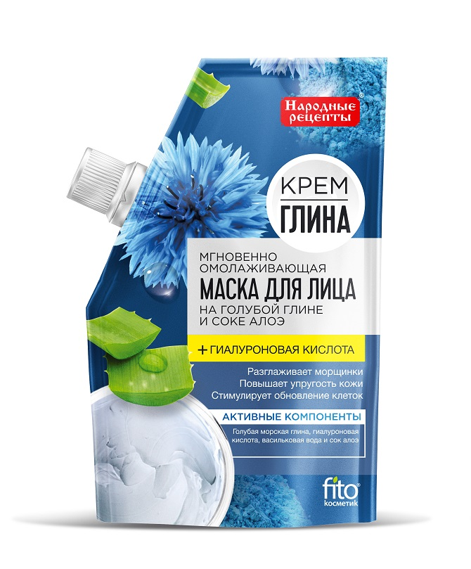 Маска для лица Народные рецепты Крем-глина мгновенно омолаживающая, 50гр фото