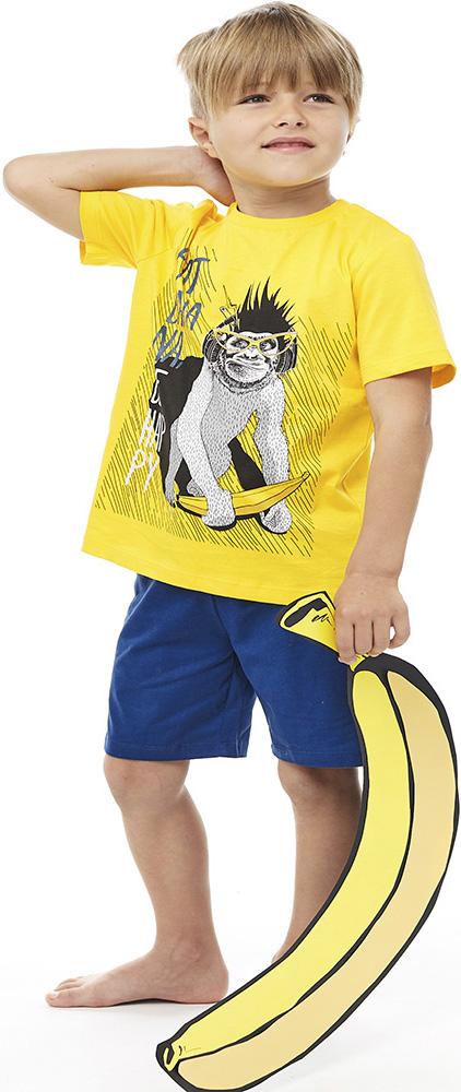 Купить Комплект пижамный UMKA Monkey 104-015-03: футболка и шорты, для мальчика, Витоша, Россия, Мульти, 110