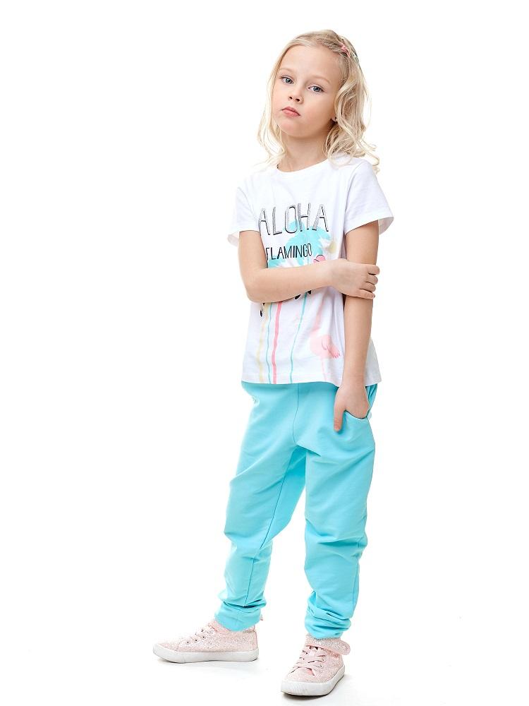 Купить Брюки UMKA 201-031-02-201 для девочки, голубые, Polini Kids, Россия, Голубой, 104