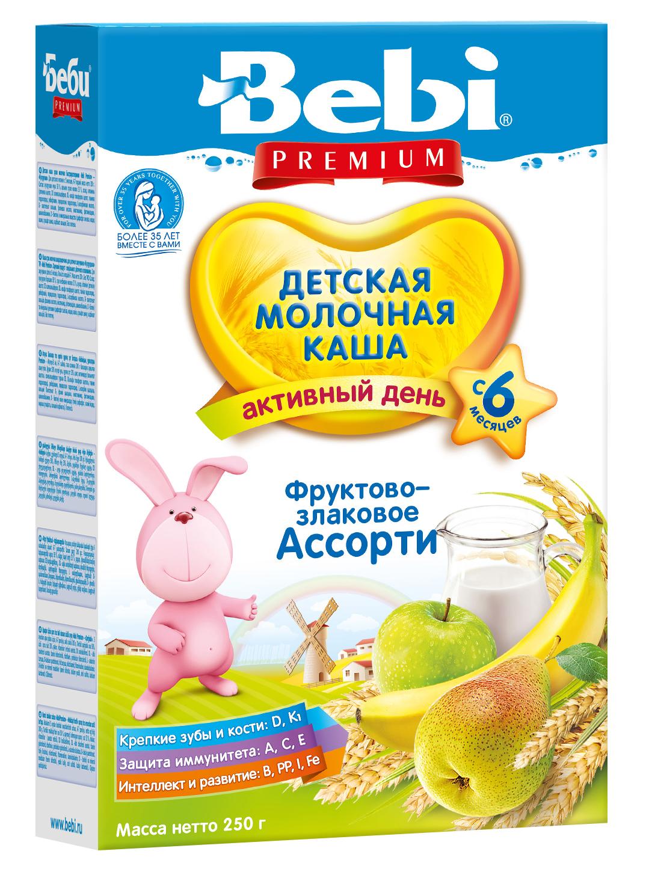 Купить Детская каша Bebi Premium молочная фруктово-злаковое ассорти, 250гр, Словения