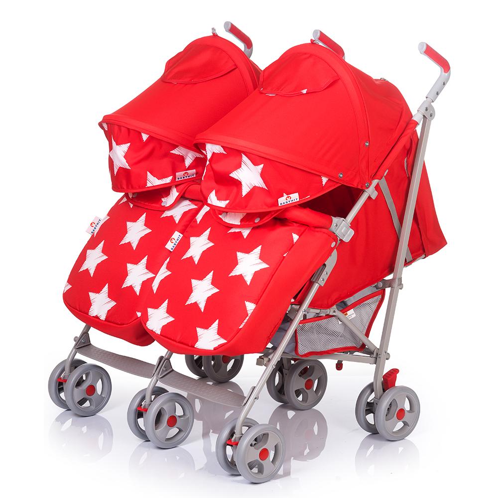 Купить Коляска-трость для двойни BabyHit Twicey (цвета в ассорт.), Inglesina, Италия, Красный