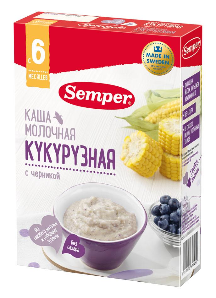Каша Semper Кукурузная молочная с черникой, 200гр фото