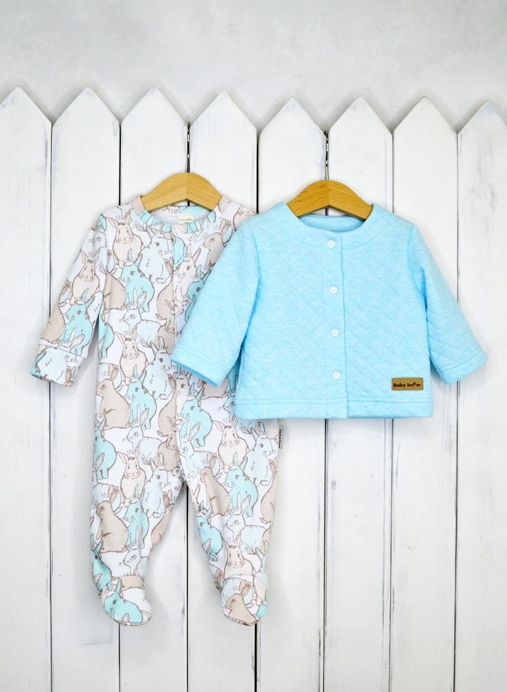 Купить Комплект для девочки Baby Boom Кролики , голубой, Наша Мама, Россия, Голубой, 62