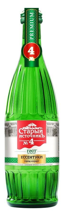 Купить Вода минеральная Старый источник №4, газированная, стекло, 0, 5л, Россия