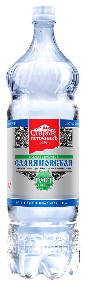 Купить Вода минеральная Славяновская , газированная, ПЭТ, 1, 5л, Старый источник, Россия