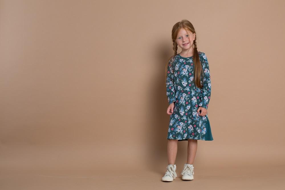 """Платье Kogankids """"Цветы"""" с длинным рукавом, зеленое фото"""
