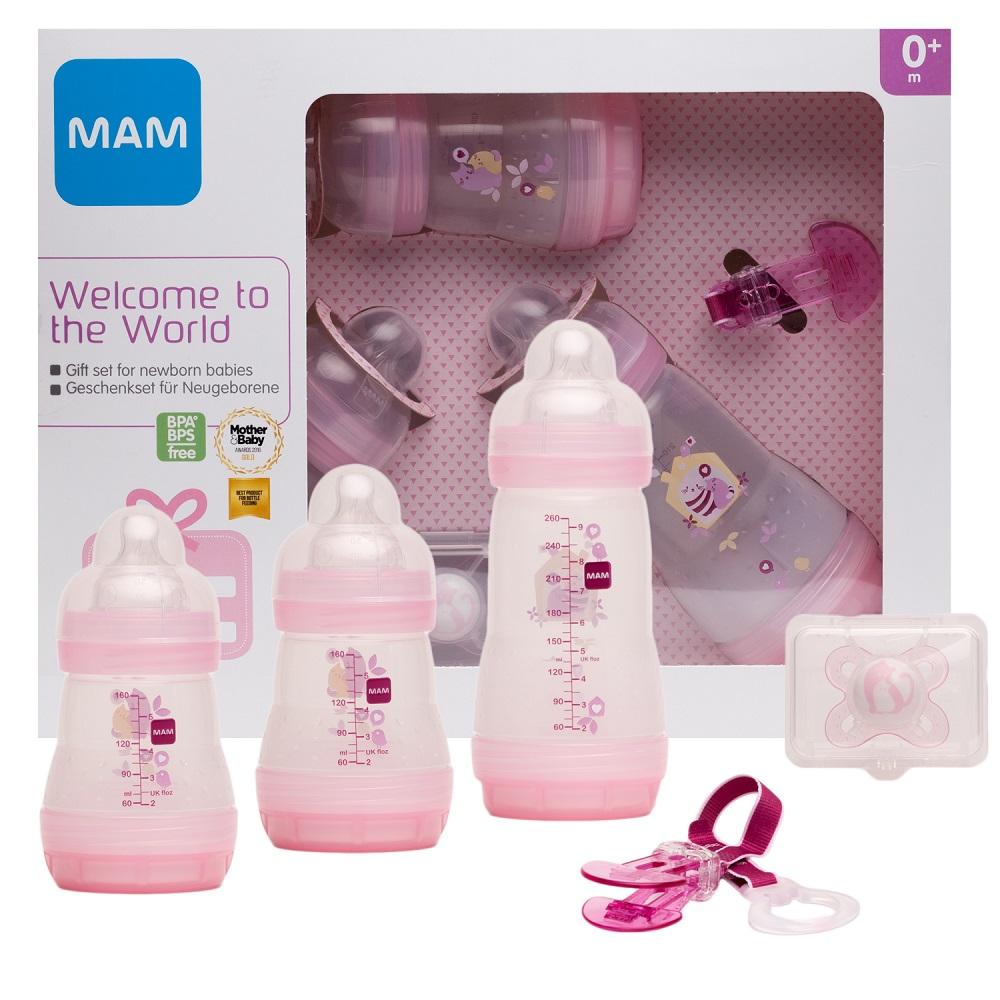 Купить Подарочный набор МАМ Welcome to the world Giftset для новорожденных (цвета в ассорт.), Chicco, Италия, розовый