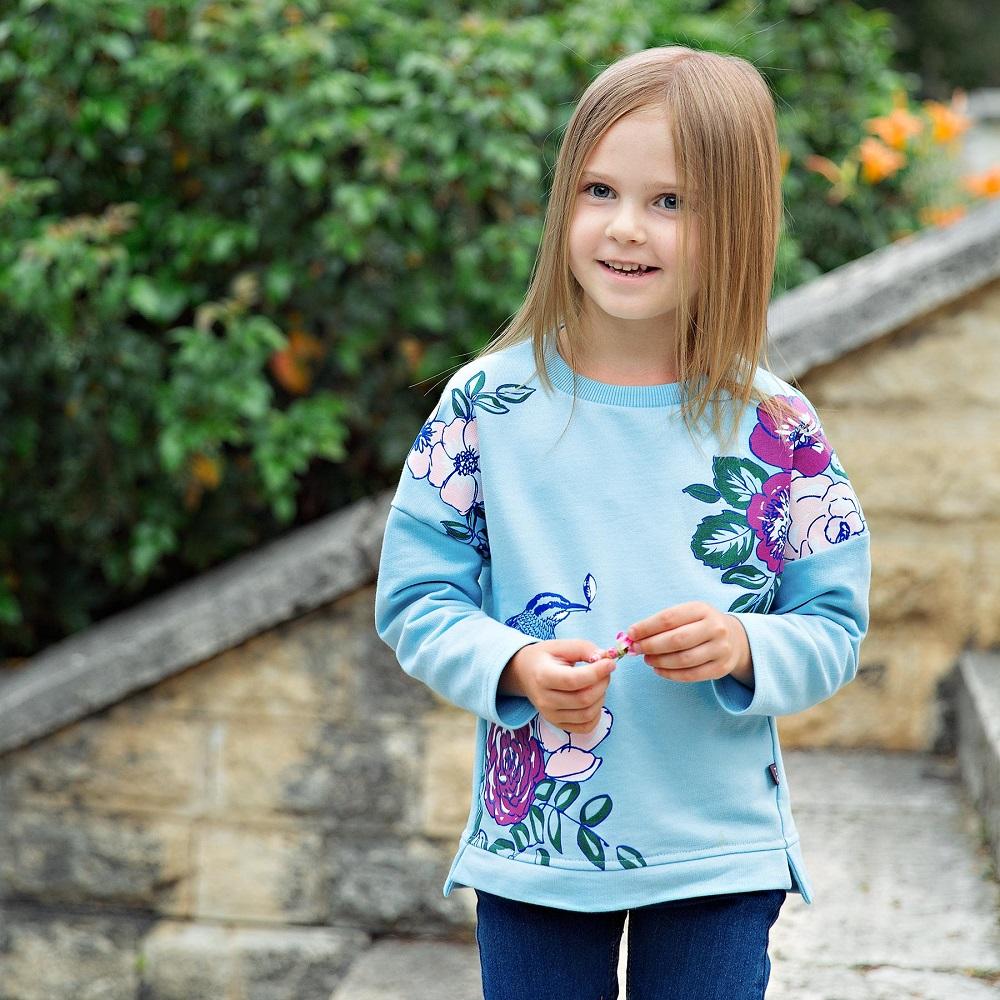 Купить Свитшот Bossa Nova Синяя птица для девочки, голубой, Bembi, Украина, Голубой, 104