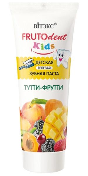 """Детская гелевая зубная паста Витэкс FRUTOdent Kids """"Тутти-Фрутти"""", 65гр фото"""
