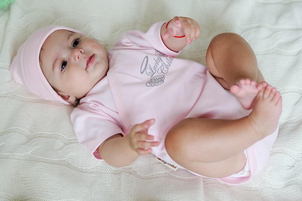 Купить Боди Lucky Child Ангелочки с коротким рукавом, розовый, Наша Мама, Россия, Розовый, 62