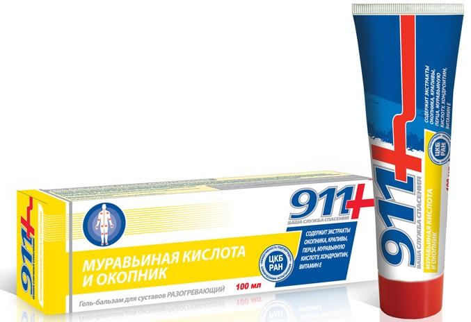 Купить Гель-бальзам для суставов 911 Муравьиная кислота и окопник разогревающий, 100мл, 911+