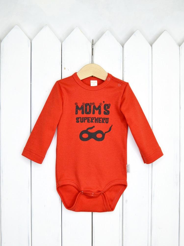 """Боди Baby Boom """"Мамин супергерой"""" с длинным рукавом, красное фото"""