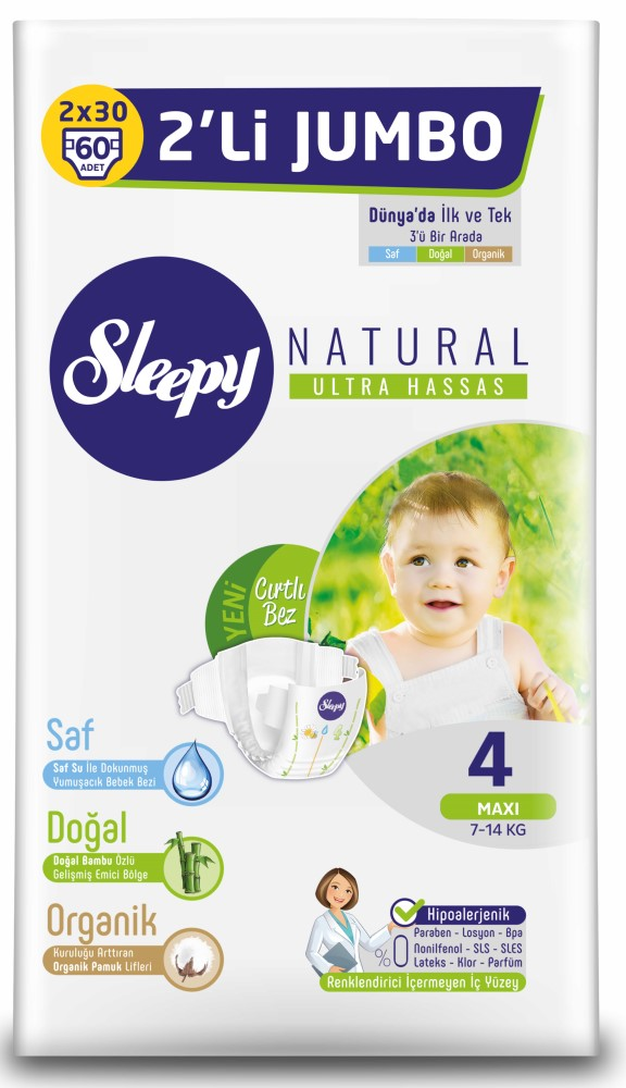 Подгузники Sleepy Natural Maxi 4, 7-14кг, 60шт., Турция  - купить со скидкой